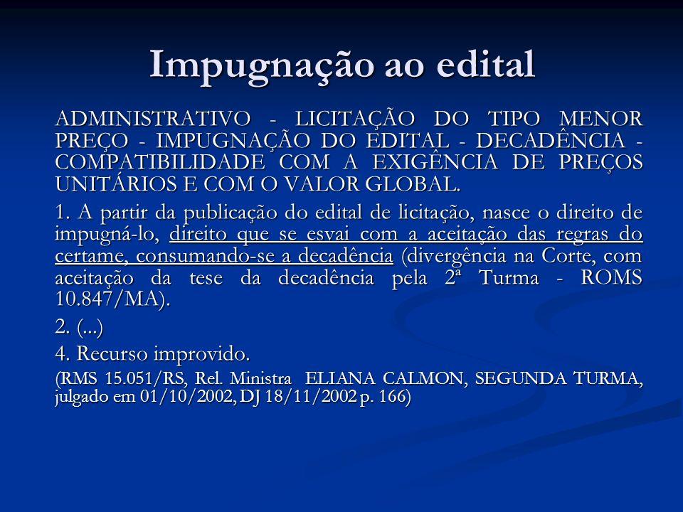 Impugnação ao edital ADMINISTRATIVO - LICITAÇÃO DO TIPO MENOR PREÇO - IMPUGNAÇÃO DO EDITAL - DECADÊNCIA - COMPATIBILIDADE COM A EXIGÊNCIA DE PREÇOS UN