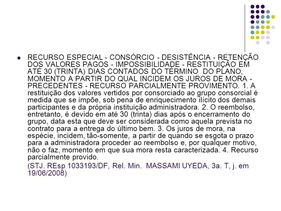 RECURSO ESPECIAL - CONSÓRCIO - DESISTÊNCIA - RETENÇÃO DOS VALORES PAGOS - IMPOSSIBILIDADE - RESTITUIÇÃO EM ATÉ 30 (TRINTA) DIAS CONTADOS DO TÉRMINO DO