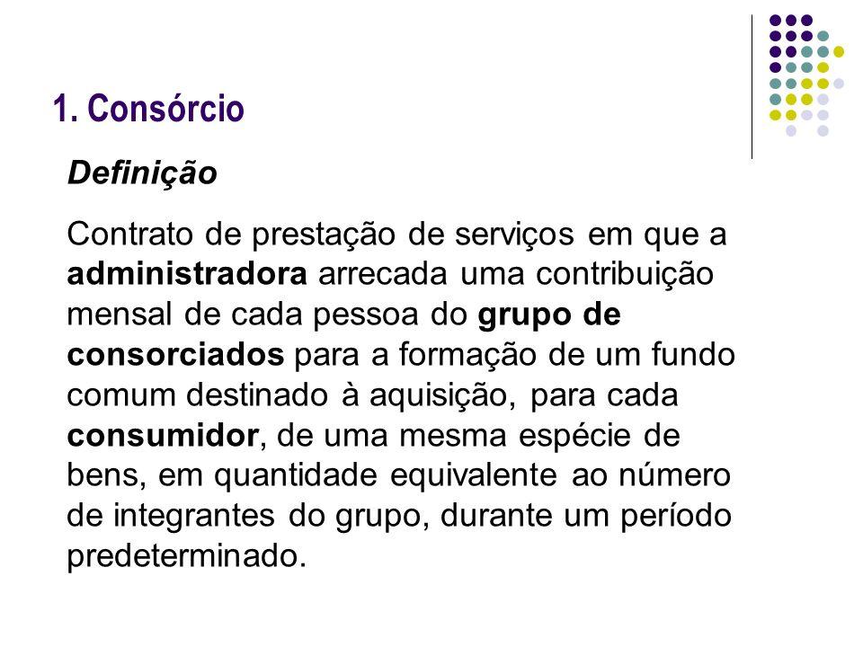 1. Consórcio Definição Contrato de prestação de serviços em que a administradora arrecada uma contribuição mensal de cada pessoa do grupo de consorcia