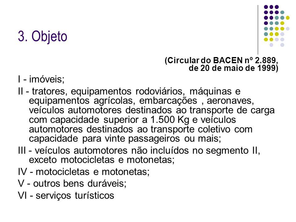 3. Objeto (Circular do BACEN nº 2.889, de 20 de maio de 1999) I - imóveis; II - tratores, equipamentos rodoviários, máquinas e equipamentos agrícolas,
