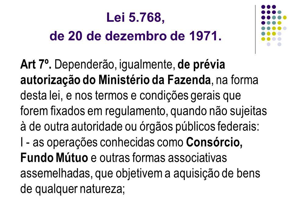 Lei 5.768, de 20 de dezembro de 1971. Art 7º. Dependerão, igualmente, de prévia autorização do Ministério da Fazenda, na forma desta lei, e nos termos