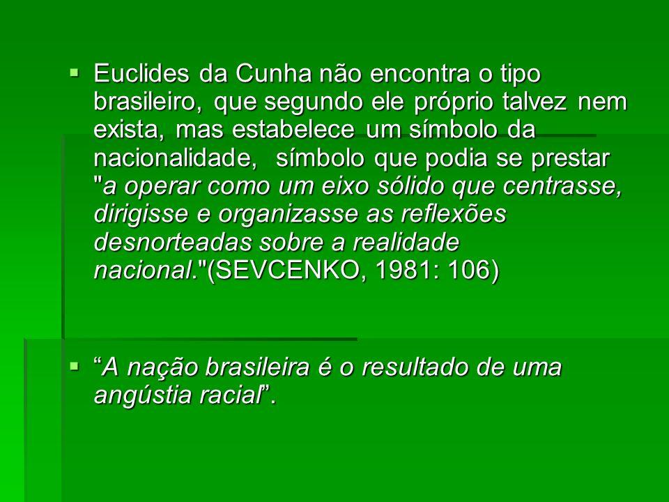 Euclides da Cunha não encontra o tipo brasileiro, que segundo ele próprio talvez nem exista, mas estabelece um símbolo da nacionalidade, símbolo que p
