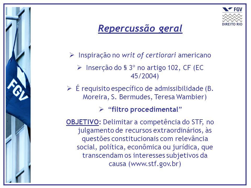 Inspiração no writ of certiorari americano Inserção do § 3º no artigo 102, CF (EC 45/2004) É requisito específico de admissibilidade (B. Moreira, S. B