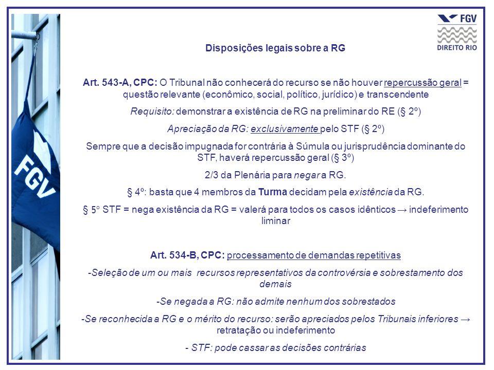Disposições legais sobre a RG Art. 543-A, CPC: O Tribunal não conhecerá do recurso se não houver repercussão geral = questão relevante (econômico, soc