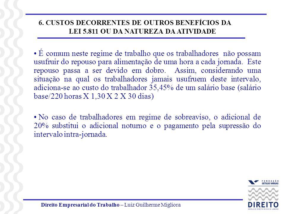Direito Empresarial do Trabalho – Luiz Guilherme Migliora 6. CUSTOS DECORRENTES DE OUTROS BENEFÍCIOS DA LEI 5.811 OU DA NATUREZA DA ATIVIDADE É comum