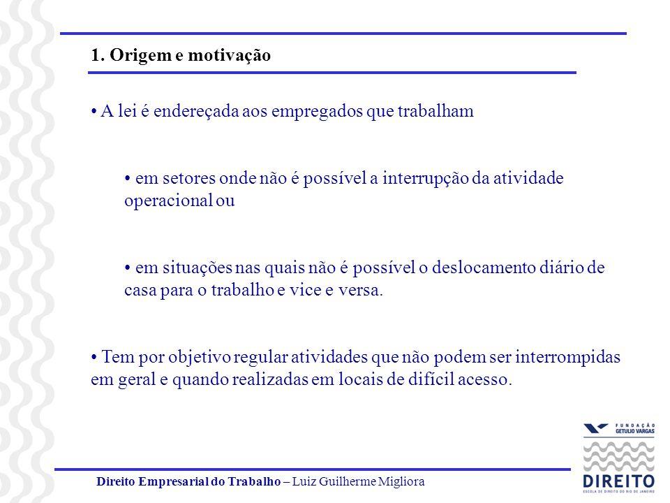 Direito Empresarial do Trabalho – Luiz Guilherme Migliora 1. Origem e motivação A lei é endereçada aos empregados que trabalham em setores onde não é