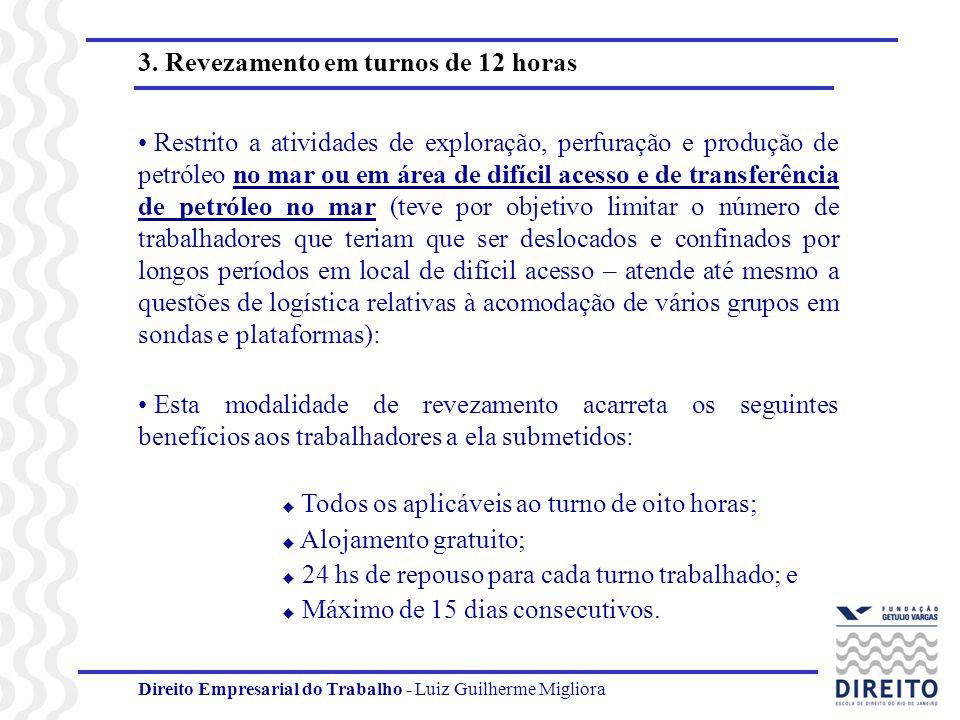 Direito Empresarial do Trabalho - Luiz Guilherme Migliora 3. Revezamento em turnos de 12 horas Restrito a atividades de exploração, perfuração e produ