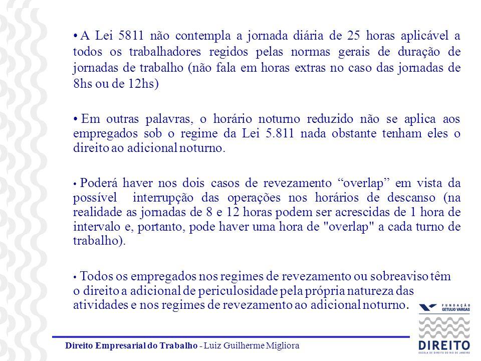 Direito Empresarial do Trabalho - Luiz Guilherme Migliora A Lei 5811 não contempla a jornada diária de 25 horas aplicável a todos os trabalhadores reg