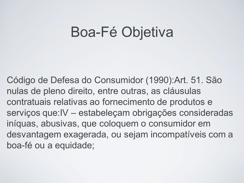 Boa-Fé Objetiva Código de Defesa do Consumidor (1990):Art. 51. São nulas de pleno direito, entre outras, as cláusulas contratuais relativas ao forneci