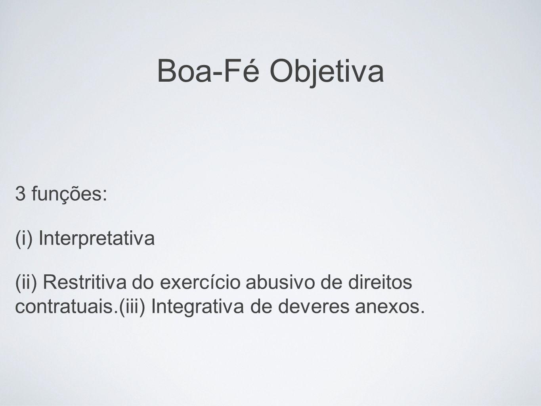 Boa-Fé Objetiva 3 funções: (i) Interpretativa (ii) Restritiva do exercício abusivo de direitos contratuais.(iii) Integrativa de deveres anexos.
