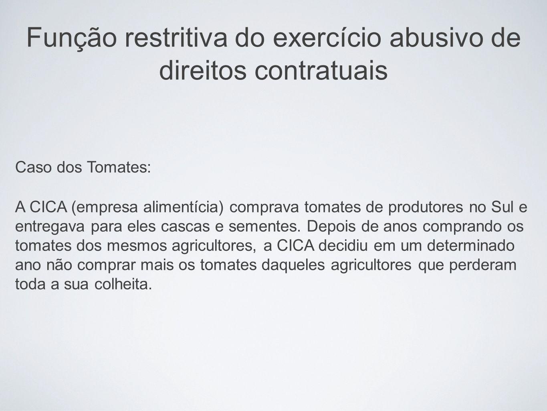 Função restritiva do exercício abusivo de direitos contratuais Caso dos Tomates: A CICA (empresa alimentícia) comprava tomates de produtores no Sul e