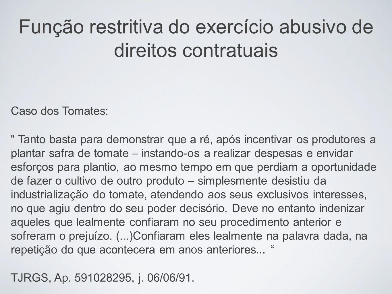 Função restritiva do exercício abusivo de direitos contratuais Caso dos Tomates: