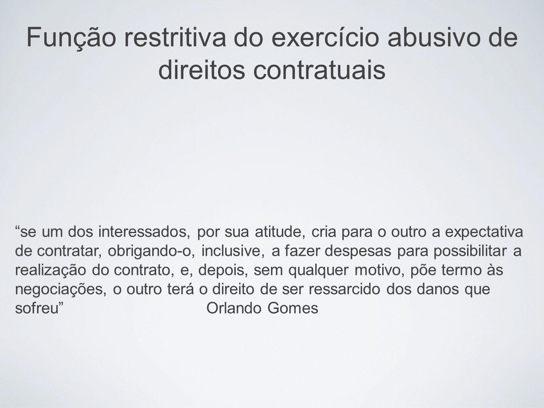 Função restritiva do exercício abusivo de direitos contratuais se um dos interessados, por sua atitude, cria para o outro a expectativa de contratar,