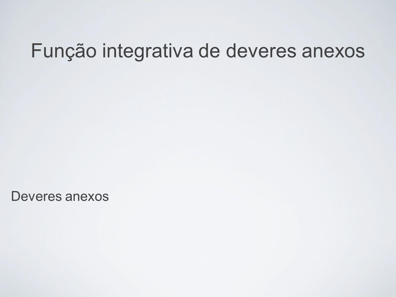 Função integrativa de deveres anexos Deveres anexos