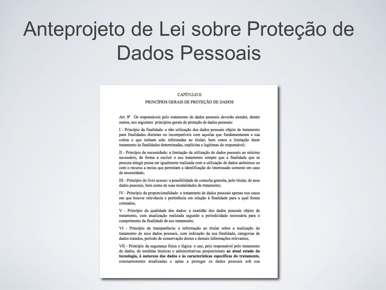 Anteprojeto de Lei sobre Proteção de Dados Pessoais