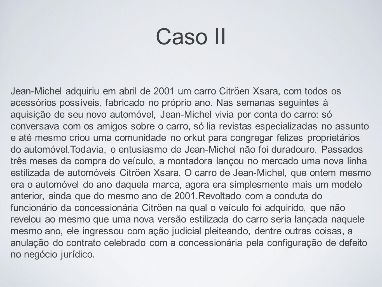 Caso II Jean-Michel adquiriu em abril de 2001 um carro Citröen Xsara, com todos os acessórios possíveis, fabricado no próprio ano. Nas semanas seguint