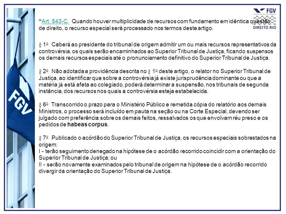 Art. 543-C. Quando houver multiplicidade de recursos com fundamento em idêntica questão de direito, o recurso especial será processado nos termos dest