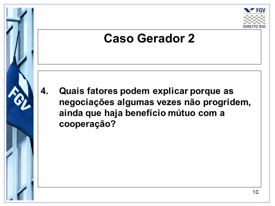 10 Caso Gerador 2 4.Quais fatores podem explicar porque as negociações algumas vezes não progridem, ainda que haja benefício mútuo com a cooperação?