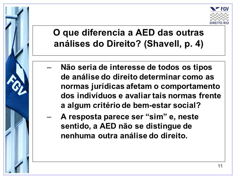 11 O que diferencia a AED das outras análises do Direito? (Shavell, p. 4) –Não seria de interesse de todos os tipos de análise do direito determinar c