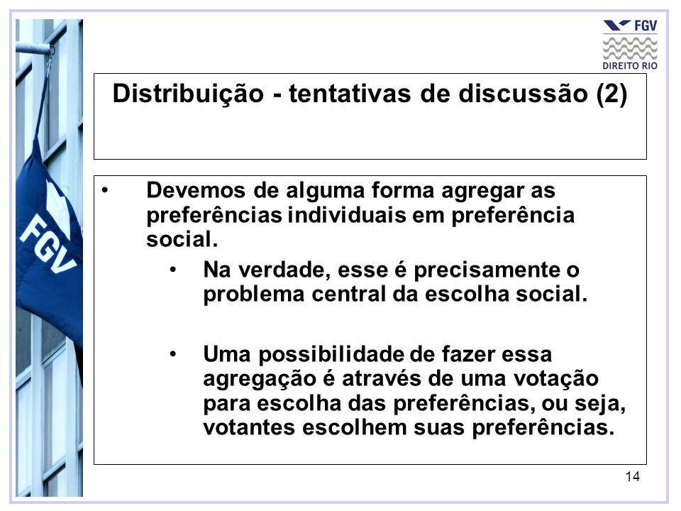 14 Distribuição - tentativas de discussão (2) Devemos de alguma forma agregar as preferências individuais em preferência social. Na verdade, esse é pr