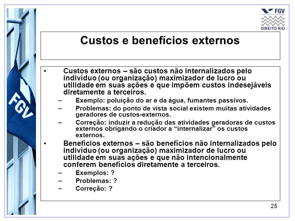 25 Custos e benefícios externos Custos externos – são custos não internalizados pelo indivíduo (ou organização) maximizador de lucro ou utilidade em s