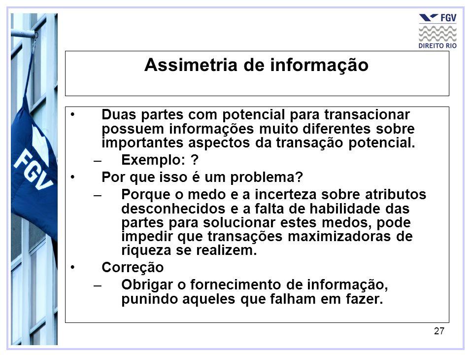 27 Assimetria de informação Duas partes com potencial para transacionar possuem informações muito diferentes sobre importantes aspectos da transação p
