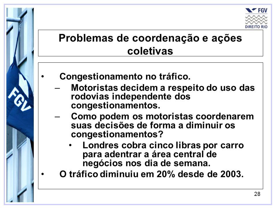 28 Problemas de coordenação e ações coletivas Congestionamento no tráfico. –Motoristas decidem a respeito do uso das rodovias independente dos congest