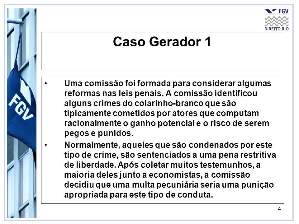 4 Caso Gerador 1 Uma comissão foi formada para considerar algumas reformas nas leis penais. A comissão identificou alguns crimes do colarinho-branco q