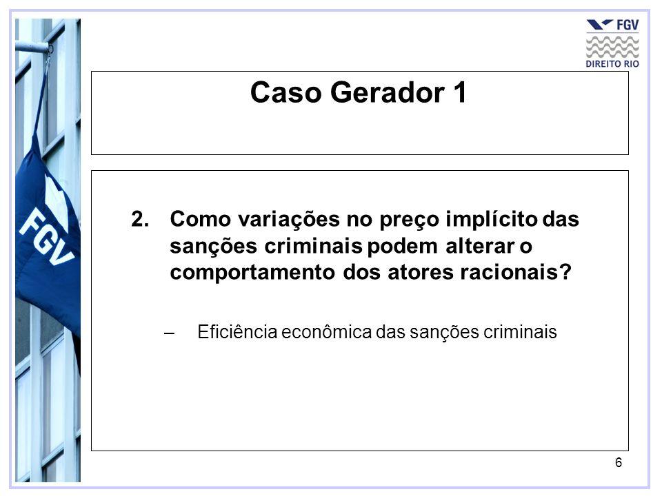 6 Caso Gerador 1 2.Como variações no preço implícito das sanções criminais podem alterar o comportamento dos atores racionais? –Eficiência econômica d