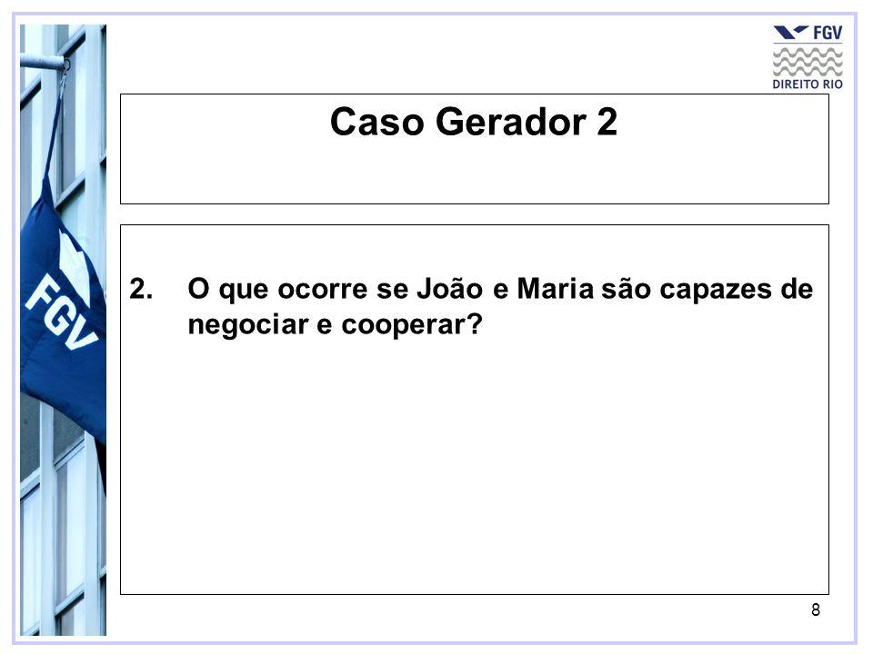 8 Caso Gerador 2 2.O que ocorre se João e Maria são capazes de negociar e cooperar?