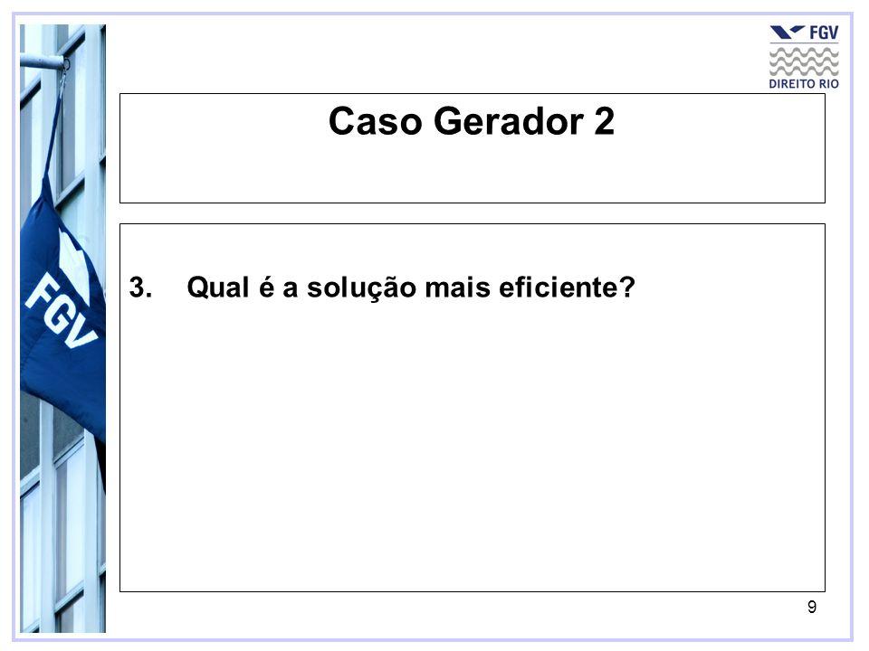 9 Caso Gerador 2 3.Qual é a solução mais eficiente?