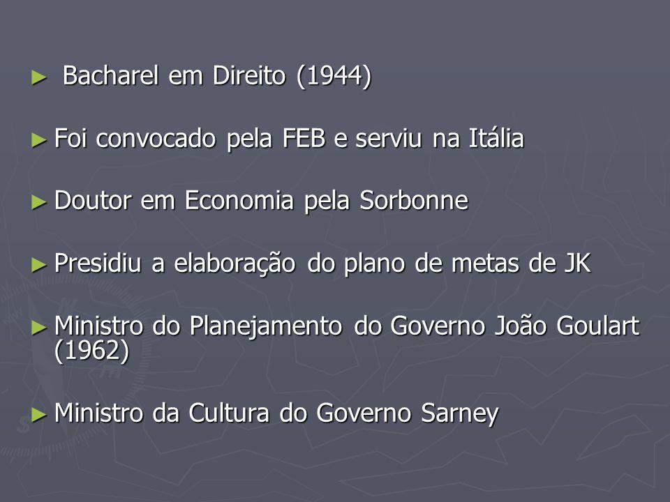 Bacharel em Direito (1944) Bacharel em Direito (1944) Foi convocado pela FEB e serviu na Itália Foi convocado pela FEB e serviu na Itália Doutor em Ec