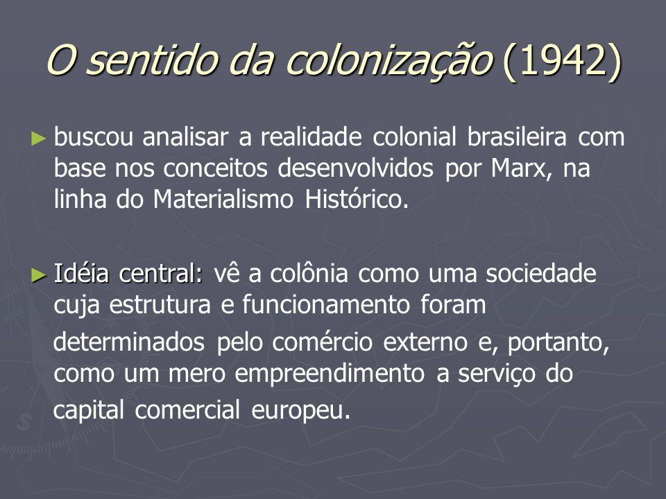 O sentido da colonização (1942) buscou analisar a realidade colonial brasileira com base nos conceitos desenvolvidos por Marx, na linha do Materialism