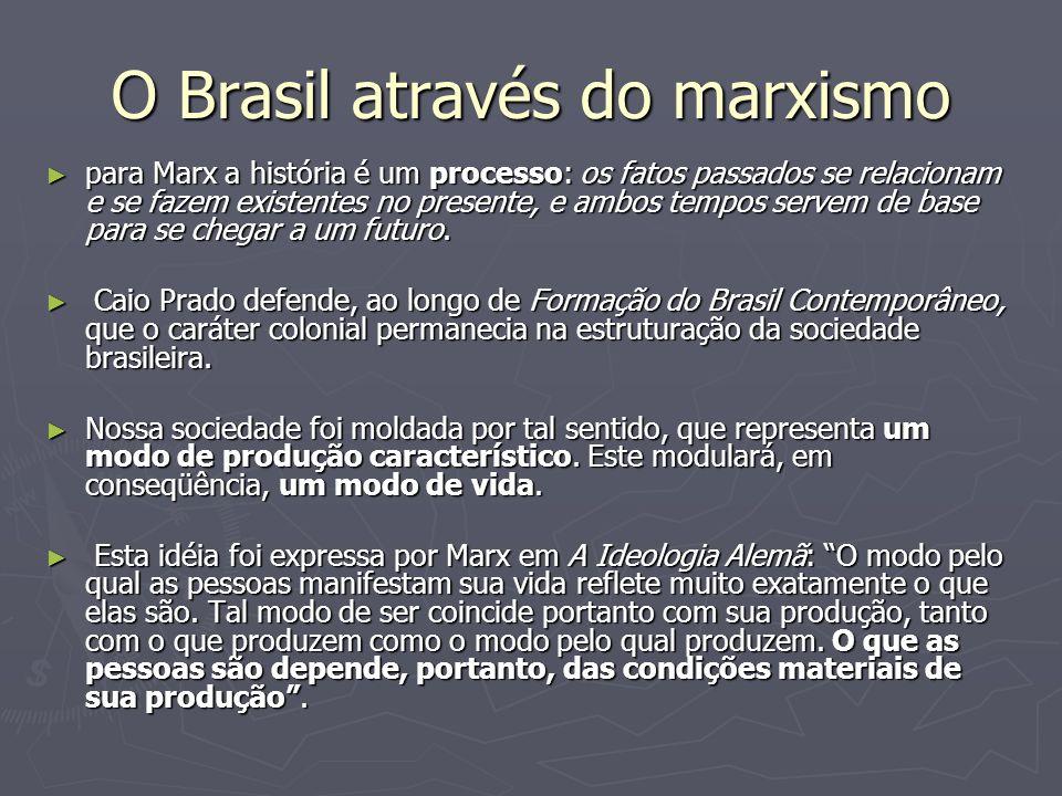 O Brasil através do marxismo para Marx a história é um processo: os fatos passados se relacionam e se fazem existentes no presente, e ambos tempos ser