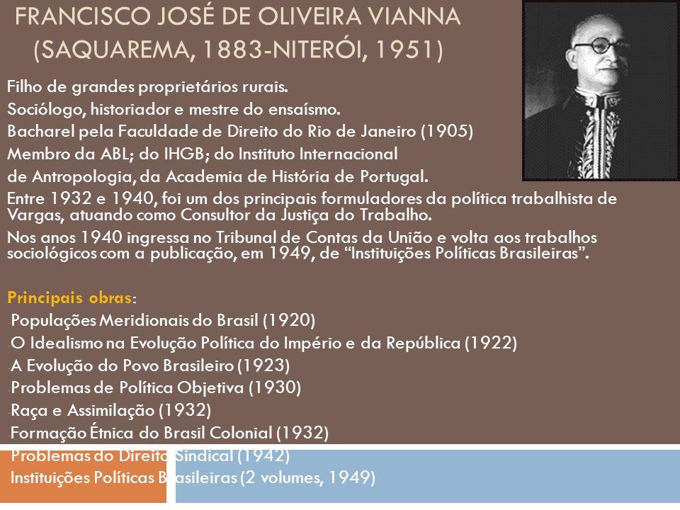 FRANCISCO JOSÉ DE OLIVEIRA VIANNA (SAQUAREMA, 1883-NITERÓI, 1951) Filho de grandes proprietários rurais.