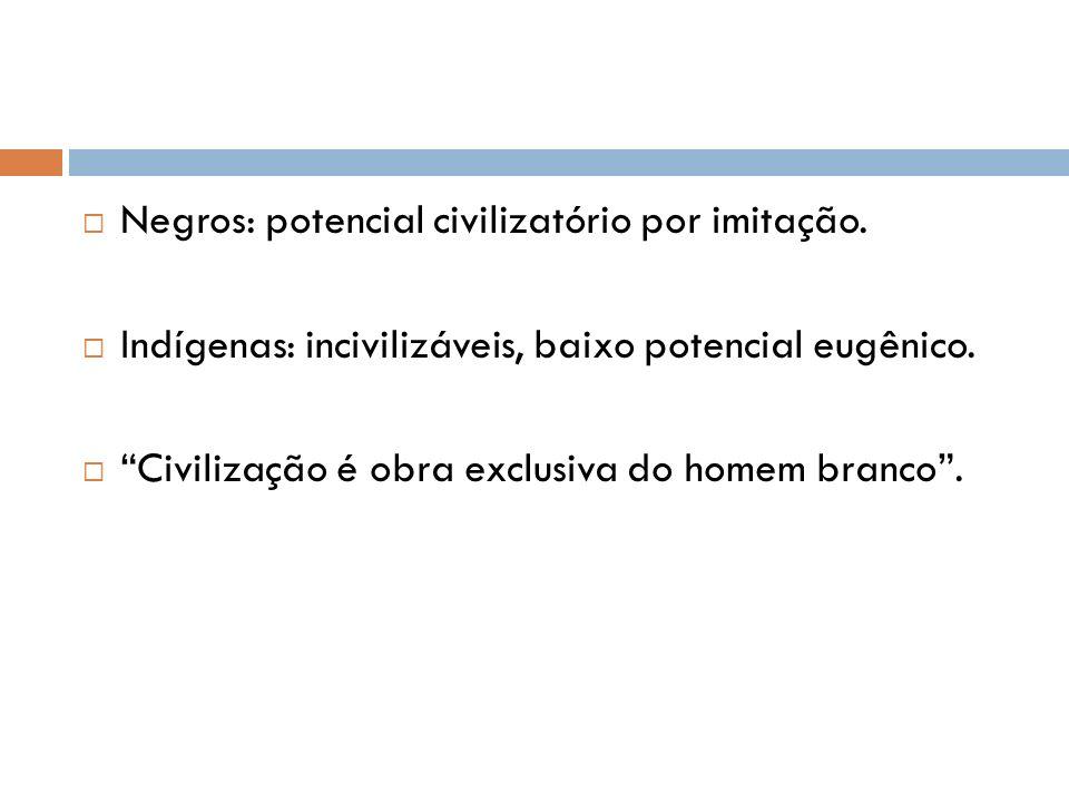 Negros: potencial civilizatório por imitação.Indígenas: incivilizáveis, baixo potencial eugênico.