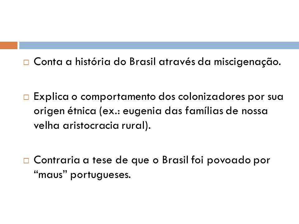 Conta a história do Brasil através da miscigenação.