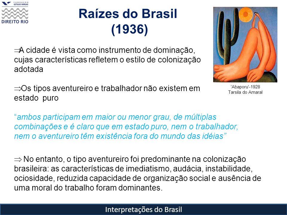 Interpretações do Brasil Raízes do Brasil (1936) 'Abaporu'-1928 Tarsila do Amaral A cidade é vista como instrumento de dominação, cujas característica