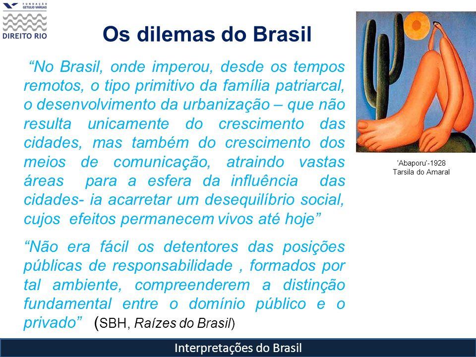 Interpretações do Brasil Os dilemas do Brasil No Brasil, onde imperou, desde os tempos remotos, o tipo primitivo da família patriarcal, o desenvolvime