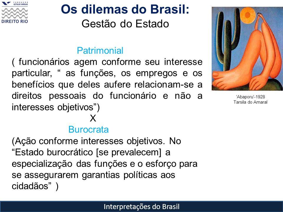 Interpretações do Brasil Os dilemas do Brasil: Gestão do Estado Patrimonial ( funcionários agem conforme seu interesse particular, as funções, os empr