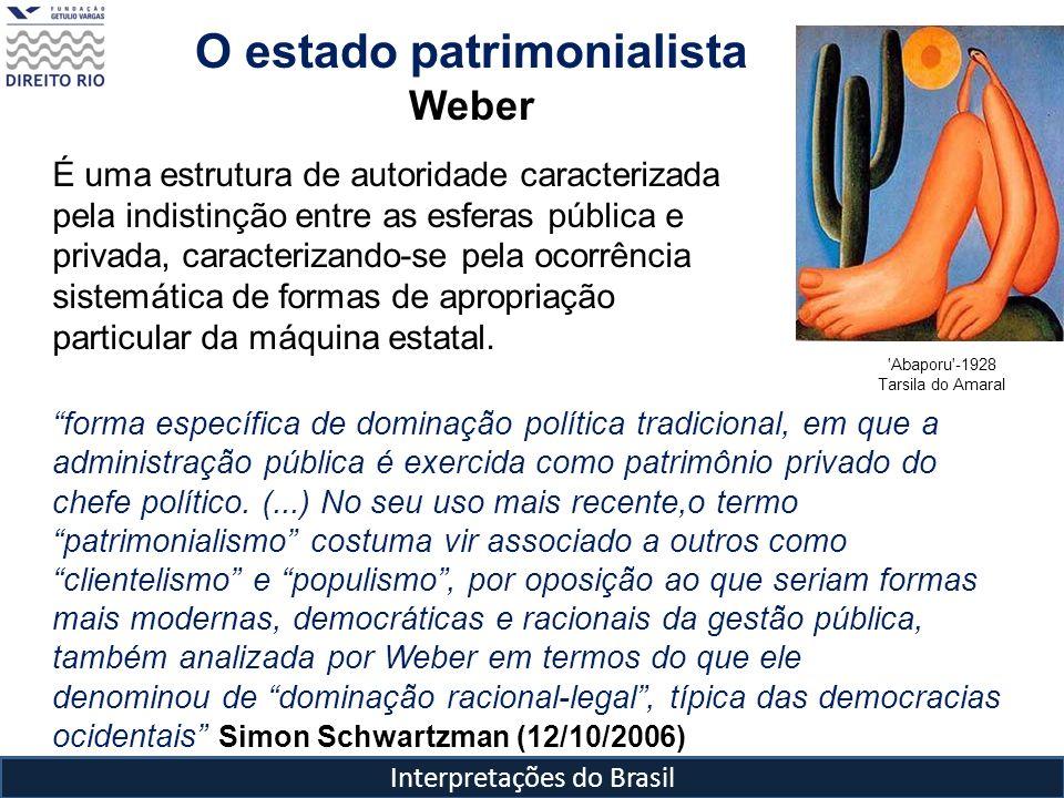 Interpretações do Brasil O estado patrimonialista Weber É uma estrutura de autoridade caracterizada pela indistinção entre as esferas pública e privad