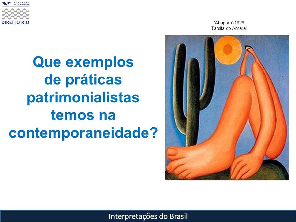 Interpretações do Brasil 'Abaporu'-1928 Tarsila do Amaral Que exemplos de práticas patrimonialistas temos na contemporaneidade?