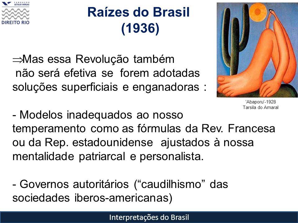 Interpretações do Brasil Raízes do Brasil (1936) 'Abaporu'-1928 Tarsila do Amaral Mas essa Revolução também não será efetiva se forem adotadas soluçõe