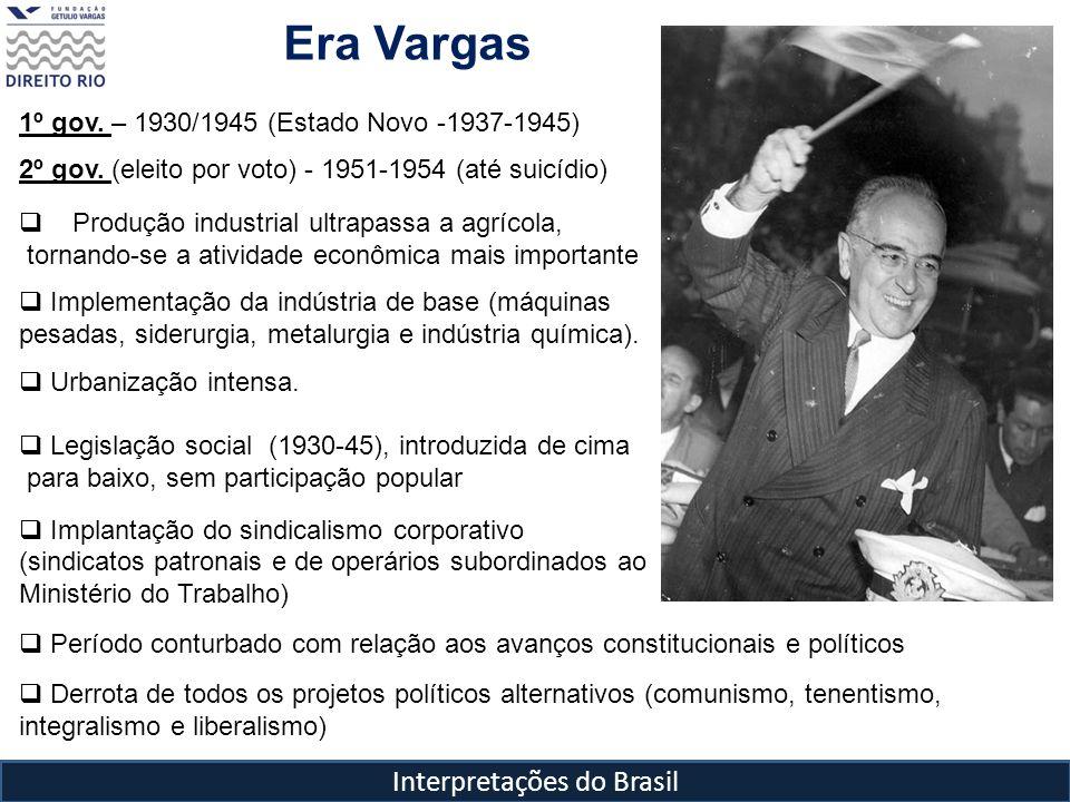 Interpretações do Brasil Era Vargas 1º gov. – 1930/1945 (Estado Novo -1937-1945) 2º gov. (eleito por voto) - 1951-1954 (até suicídio) Produção industr