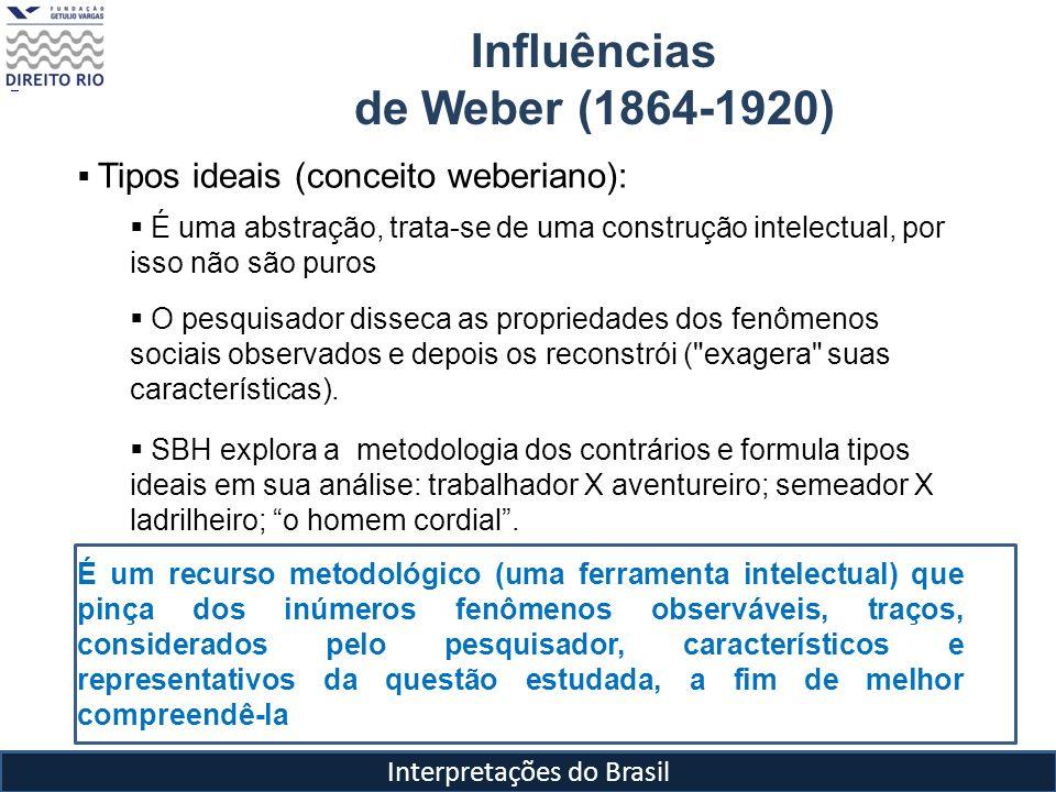 Interpretações do Brasil Influências de Weber (1864-1920) Alguns conceitos importantes de Weber usados em Raízes do Brasil Estado e autoridade - Política entendida como a liderança do Estado: uma comunidade humana que pretende o monopólio do uso legítimo da força física dentro de determinado território .