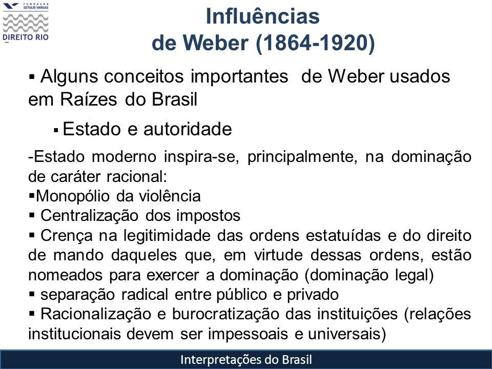 Interpretações do Brasil Influências de Weber (1864-1920) Alguns conceitos importantes de Weber usados em Raízes do Brasil Estado e autoridade -Estado