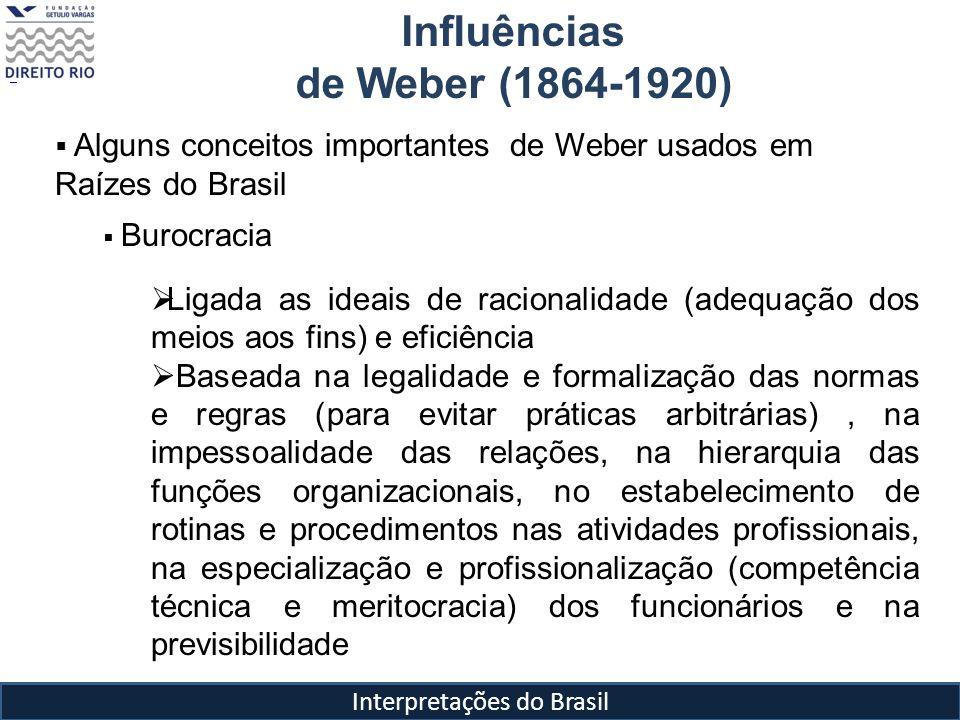 Interpretações do Brasil Influências de Weber (1864-1920) Alguns conceitos importantes de Weber usados em Raízes do Brasil Burocracia Ligada as ideais
