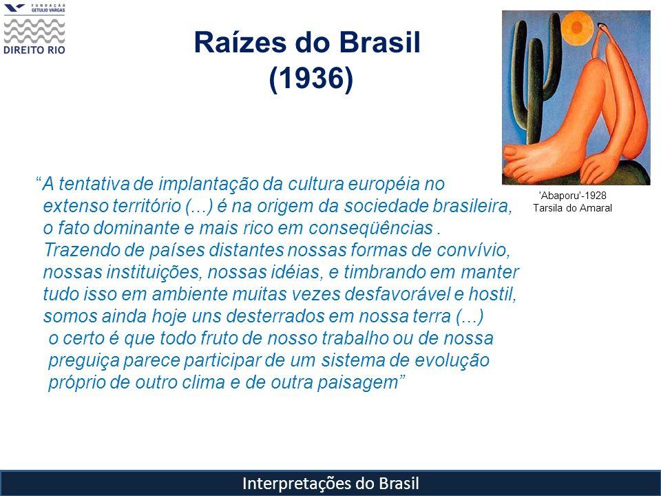 Interpretações do Brasil Raízes do Brasil (1936) Abaporu -1928 Tarsila do Amaral Mas essa Revolução também não será efetiva se forem adotadas soluções superficiais e enganadoras : - Modelos inadequados ao nosso temperamento como as fórmulas da Rev.