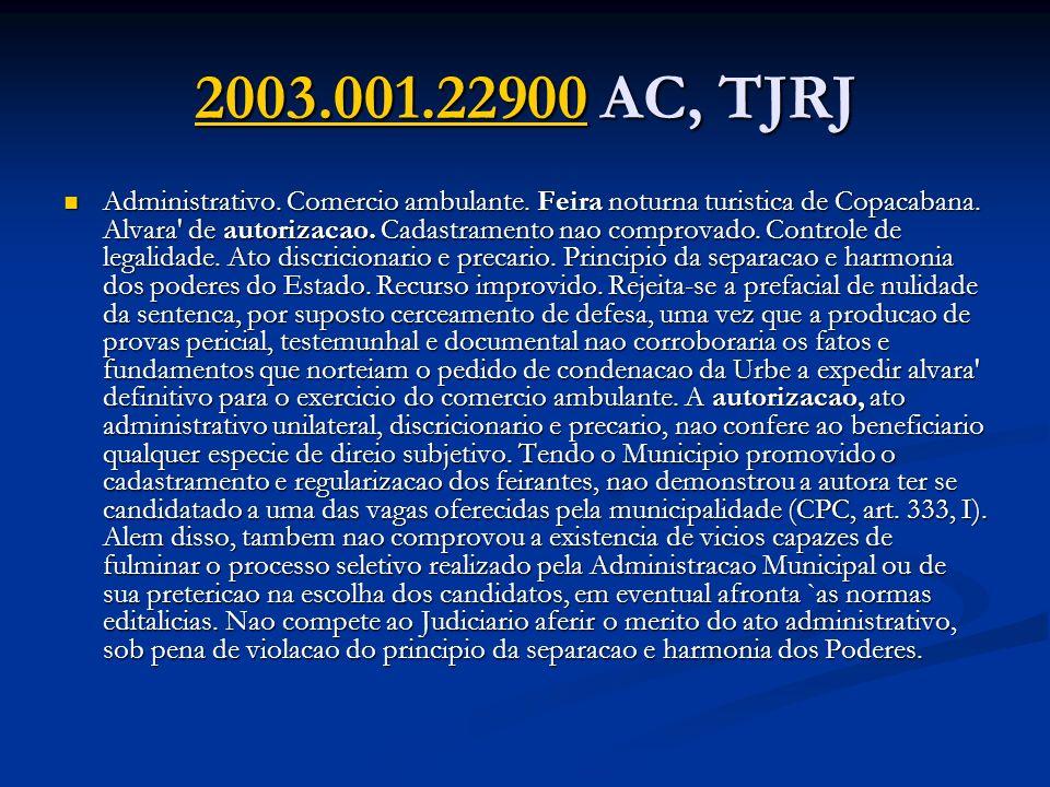 2003.001.229002003.001.22900 AC, TJRJ 2003.001.22900 Administrativo. Comercio ambulante. Feira noturna turistica de Copacabana. Alvara' de autorizacao