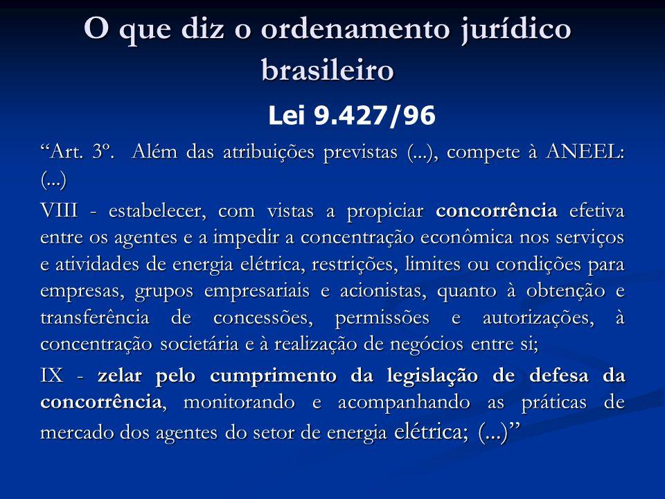 Art. 3º. Além das atribuições previstas (...), compete à ANEEL: (...) VIII - estabelecer, com vistas a propiciar concorrência efetiva entre os agentes
